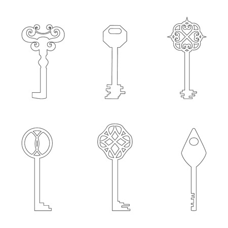 door lock love: Set with Classic Keys Made in Contour. Simplistic Style. Line Vector Icons