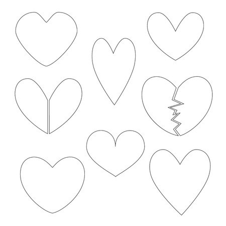 minimalistic: Set with Minimalistic Heart Contours.