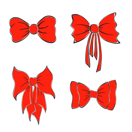 Set with Bright Red Bows. Hand Drawn Style.