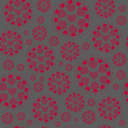 Seamless Pattern from Concentric Circles with Hearts on the Grey Background. Ideal Pattern for Fabric, Paper Print .