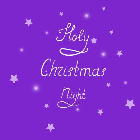 clumsy: Handwritten Christmas Lettering on the Background with Stars and Light Spots.