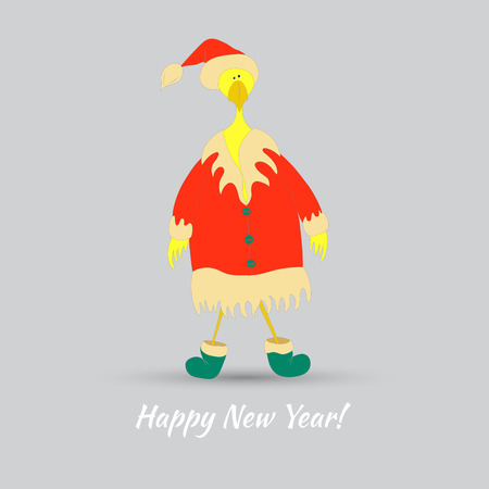 Cute Rooster in Santa Claus Dress as a Chinese Symbol of New  Year 2017. Appropriate for Paper,Fabric print and Web Usage.