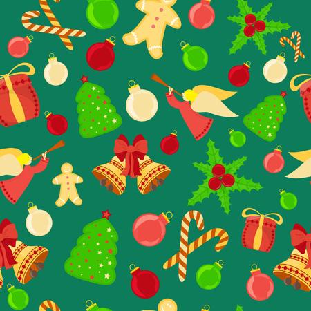 Helle nahtlose Hintergrund mit Lebkuchen-Mann, Glocken, Holly, Box mit Geschenke, Weihnachtsbaum, Süßigkeiten. Ideal für Urlaub Papier und Stoff drucken, Webnutzung