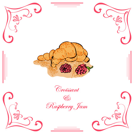 puff pastry: Croissant with Raspberry Jam and Raspberries Decorated in Vintage Retro Style.