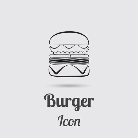 greyscale: Greyscale Icon of Burger Designed in Flat Line Style with Lettering. Illustration