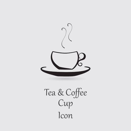 greyscale: Greyscale Icon of Cup with Hot Beverage and Lettering