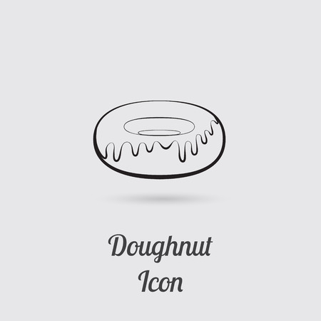 greyscale: Greyscale Icon of Donut with Lettering