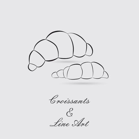 greyscale: Greyscale Icon of Croissants with Exquisite Lettering