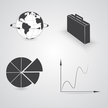 Set with Business Icons Including Pie Chart, Graph, Suitcase and World Globe with Arrows Around it. Vector EPS 10