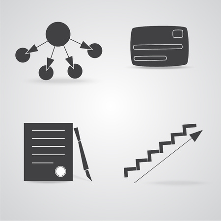 career ladder: Business Flat Icons with Simple Distribution Scheme, Credit or Debit Card, Paper with Stamp and Pen and Symbolic Career Ladder.
