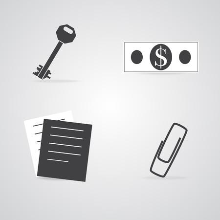 articulos de oficina: Comercio y artículos de oficina, iconos sich como billete de dólar, Key, grapa y Hojas de papel. Vectores