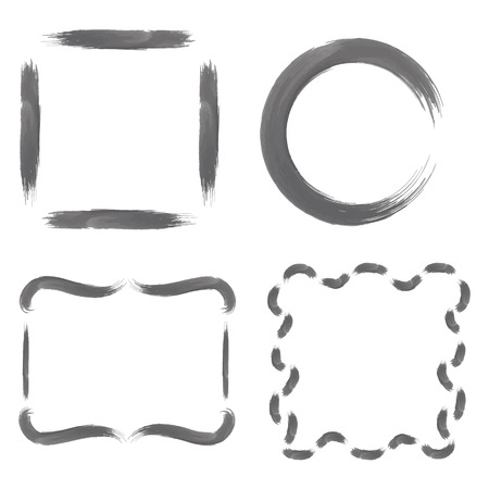 greyscale: Set with Greyscale Watercolour Brushstroke Frames, such as Circle, Simple Square and  Decorative Square Shapes.