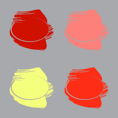 Set of Backgrounds Made with Paint Color Brush Strokes and cut out Circular Frames. Illustration