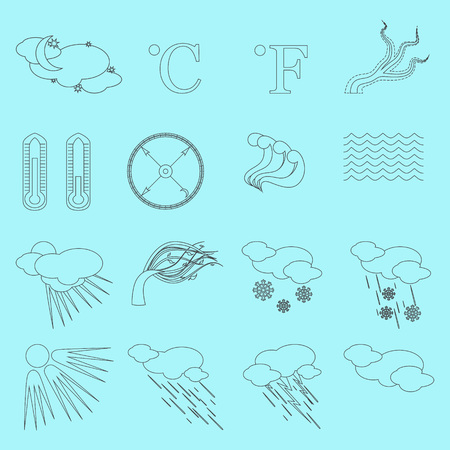 Set with Sixteen Creative Weather Line Icons.