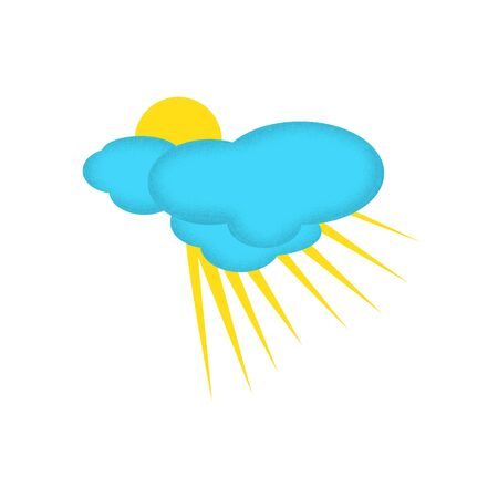 partly: Weather Icon of Partly Clouded Day with Texture on the Clouds Edge.