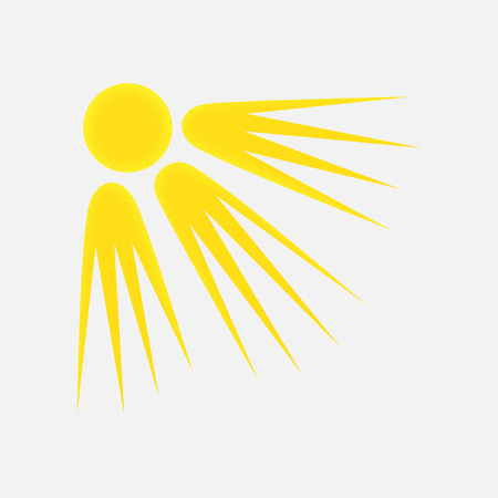 Weather Icon of the Sun with Textured Edge, Isolated on Light Grey Background.