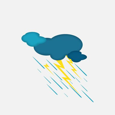 bad weather: Weather Icon of the Rainy Cloud and Lightning with Textured Edge, Isolated on Light Grey Background. Illustration