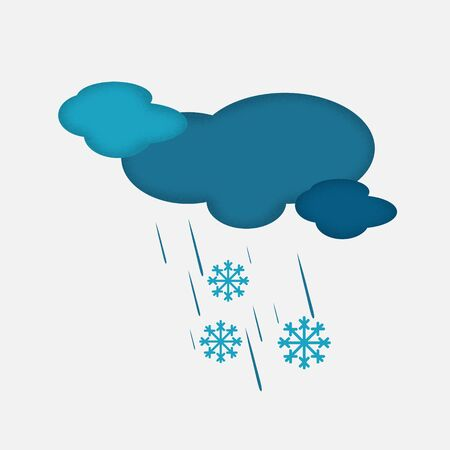 sleet: Weather Icon of the Cloudy Sky with Snow and Rain. Clouds with Textured Edge, Isolated on Light Grey Background.