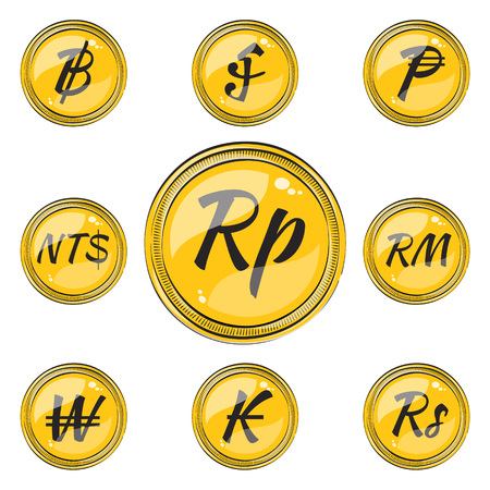 riel: Set of Coins with Symbols of 9 Currencies. Flat Style Icons.