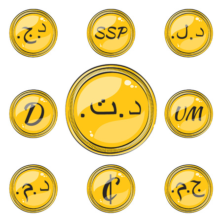 mauritania: Set of Coins with Symbols of 9 Northern and Western Africa  Currencies. Flat Style Icons with Hotspots. Illustration