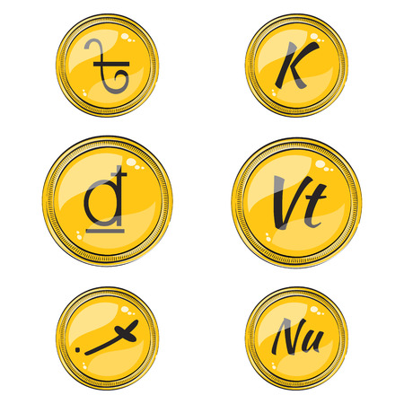 foreign exchange rates: Set of Flat Coins with Symbols of 9 South Asian Currencies. Flat Icons of Coins with Hotspots. Illustration