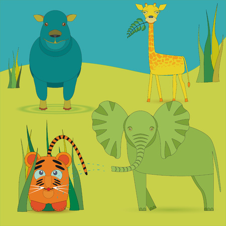 Cute Africa Animals in Savanna Illustration