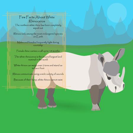 African White Rhinoceros Illustration