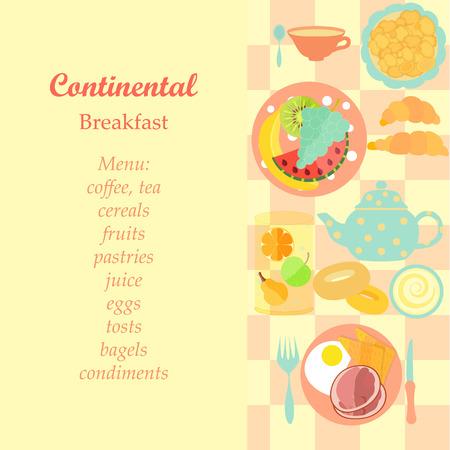 Continental Breakfast Illustration