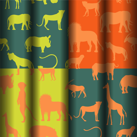 pygmy: Seamless Pattern with African Animals Illustration