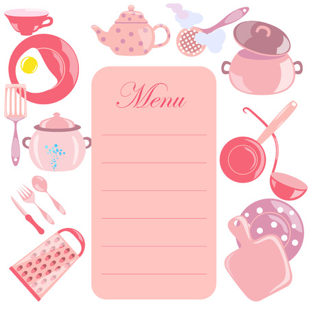 Menu Leaf with Pink Color Utensils Illustration