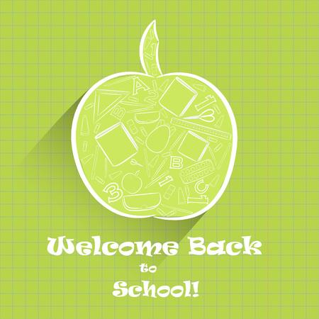 Apple Shape with School Stuff Inside