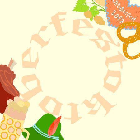 Oktoberfest Flyer with Frame Made of Letters Illustration