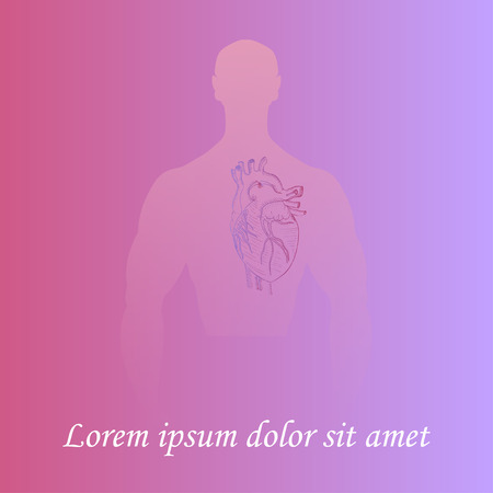 Human Heart in Man Silhouette