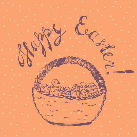 Happy Easter card with wicker basket and eggs Ilustração