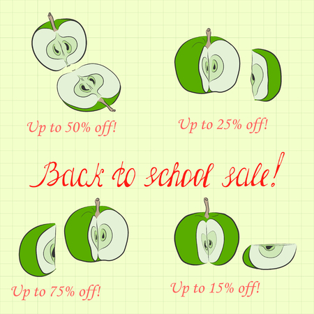 Back to School Sale Pictured as Divided Apples and Handwritten Lettering. Background Made as Square Copybook Sheet. Illustration