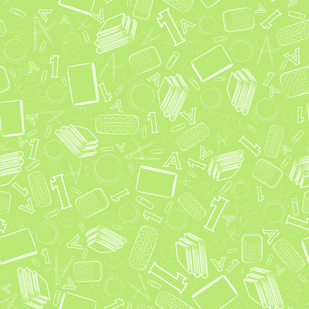 Seamless Pattern with Outlined White School Items Çizim