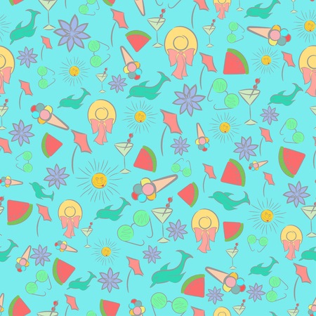 Motley Seamless Pattern for Summer Holidays