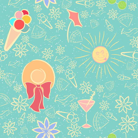 Summer Seamless Pattern with Texture