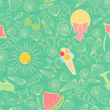Seamless Pattern on Summer Sea Vacation Theme