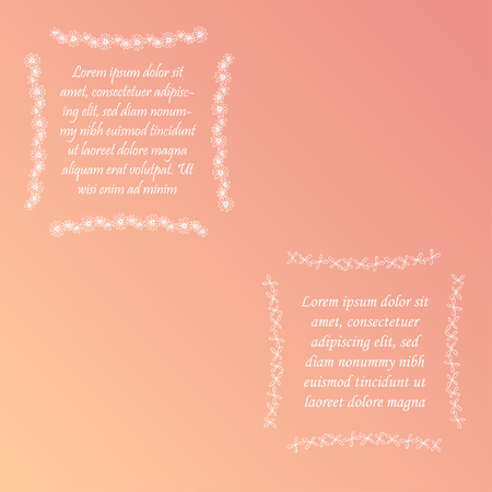 Two Square Hand Drawn Floral Frames with Sample Text on the Gradient Background. White Doodle Frames with Contour White Flowers. Design Elements for Web and Print Usage.