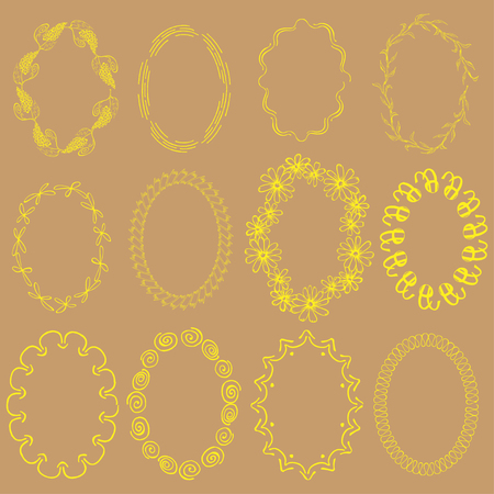 Set with Yellow Oval Hand Drawn Frames on the Beige Background.Abstract and Floral Frames with Swirls, Waves, Copybook Spring, Flowers, Grapes and other.