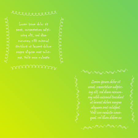 Two Square Hand Drawn Frames with Sample Text on the Gradient Background. White Abstract Doodle Frames, Banner Templates Ilustração