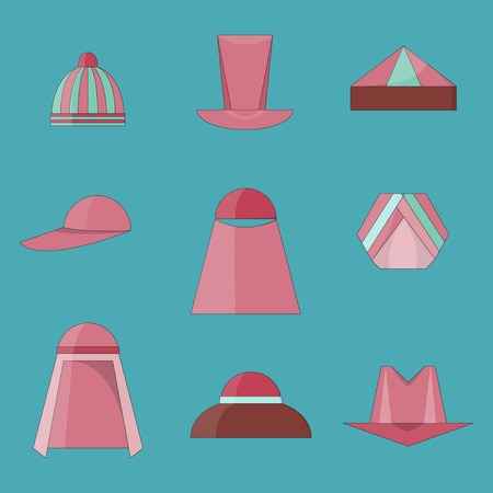 Set of Different Icons of Hats in Flat Style with Outlines. Group of Headdressings Including Hijab, Turban and Skullcap. EPS 10 Vector illustration.