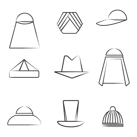 Set of Different Hats made in Line Art Style. Black Icons on the White Background. Group of Headdressings Including Hijab, Turban and Skullcap. EPS 8 Vector illustration.