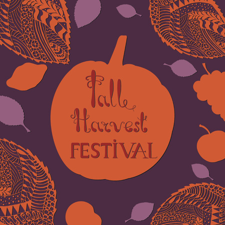 Harvest Festival Poster with Hand Drawn Lettering. Autumn leaves with  Decorative Openwork Filigree Pattern.  Editable EPS8 Vector illustration with Clipping Mask. Ilustracja