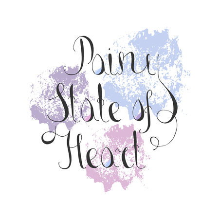 Lettering Rainy State of Heart with Paint Texture. Rain Drops Catched in the A Letter. Design Elelment for Web and Print Usage. EPS 8 Vector Illustration.
