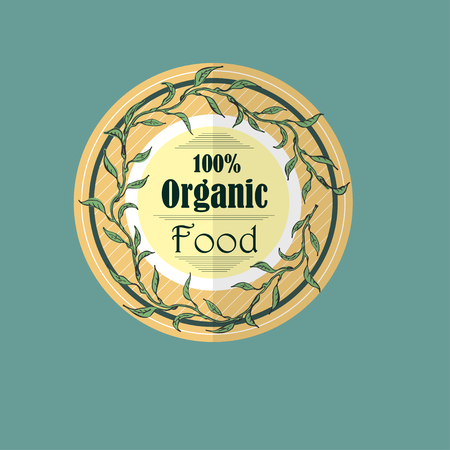 Organic Food Label  with Hand Drawn Tree Branch Wreath, Line Textures and Delimiters. Design Element for Food Market, E-Markets, Organic Products and Healthy Lifestyle Promotions