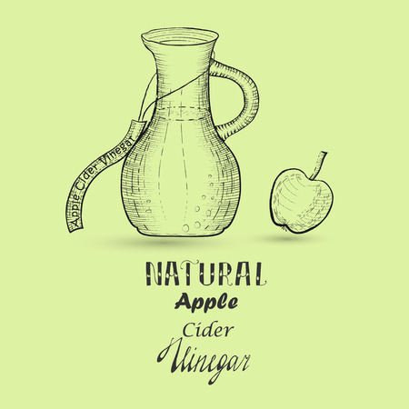 Hand Drawn Apple Cider Vinegar and Apple made in Sketchy Doodle Style with Hatching and Hand Drawn Lettering.