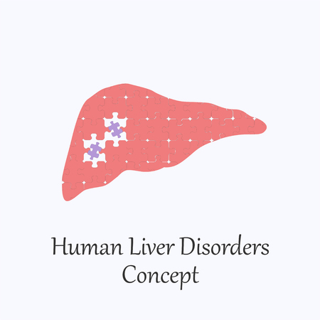 Human Liver Filled with Puzzle Pattern Few of Whitch Unfit to the Whole. Conceptual Image of Human Liver Disorders in its Initial Stage.
