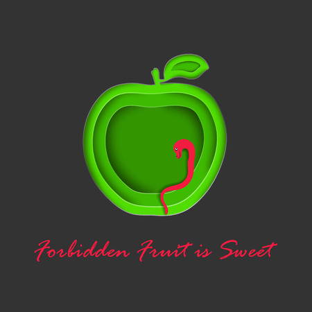 Paper Cut Out Apple with Snake Symbolizing Evil Temptation. Green Apple and Bright Red Snake on the Dark Background.